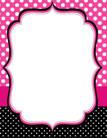 Retro frame with polka dots  pattern on background