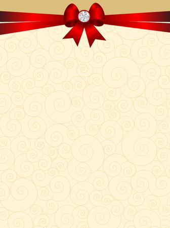 Fondo elegante de la tarjeta de la invitación de la boda con la cinta roja y el arco