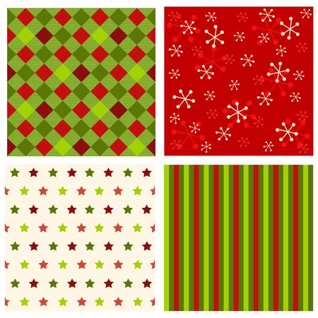 Christmas seamless pattern with christmas stars, snow and stripes