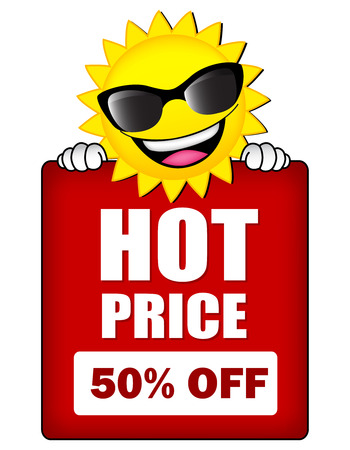 hot summer: Hot price. Sun wearing sunglass hot summer sale web banner