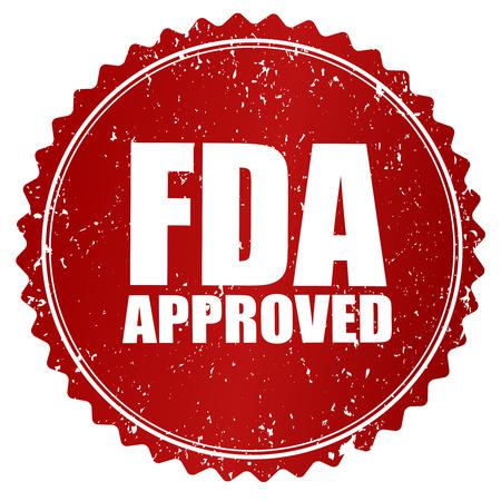 """Grunge timbro di gomma rosso o il badge con il testo """"approvato dalla FDA""""."""