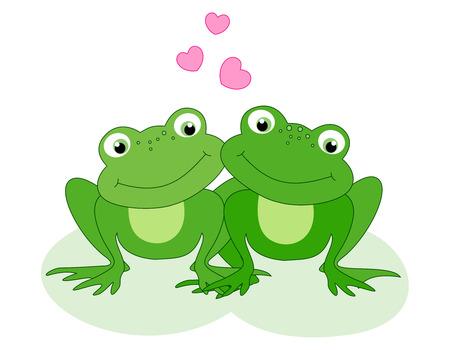 cute love: Cute little frog couple in love