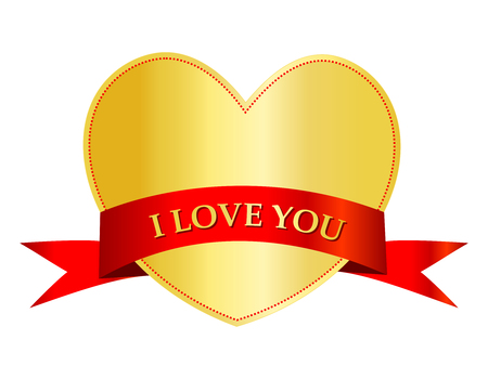gold heart: Gold heart with a red i love you ribbon