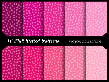 pink and black: Seamless polka dot pattern collection with circles. Vector swatch