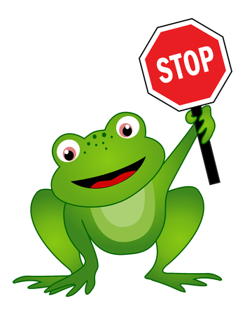 holding sign: Frog holding a sogn board with stop sign illustrator isolated on white