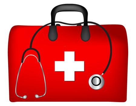 cassetta di pronto soccorso e stetoscopio isolato su sfondo bianco Vettoriali