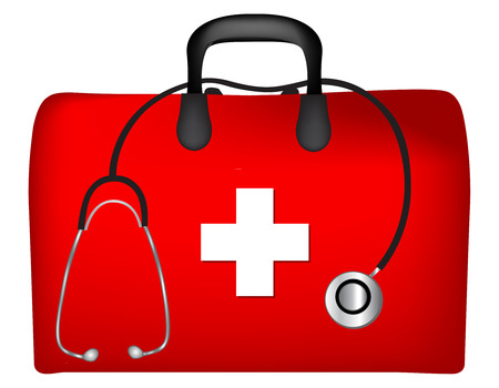 First aid box and stethoscope isolated on white background Zdjęcie Seryjne - 62403489