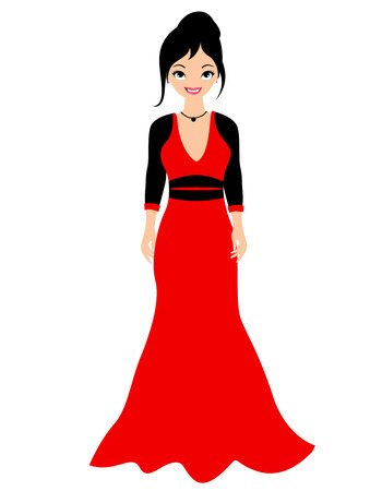 supermodel: Fashion girl with a lovely red dress on white background Illustration