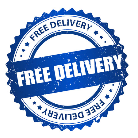 Free delivery grunge blue rubber seal  stamp on white background
