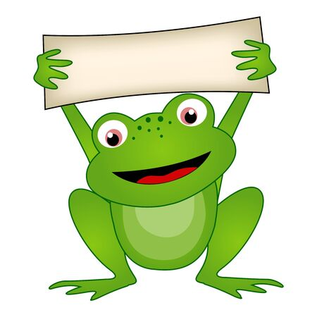 notice: Frog holding a empty notice board illustration isolated on white