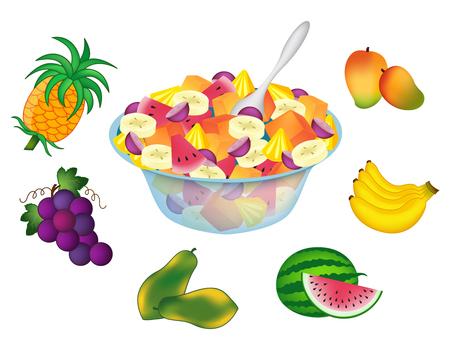 fruit salad: Fruit salad bowl with fruits around it isolated on white
