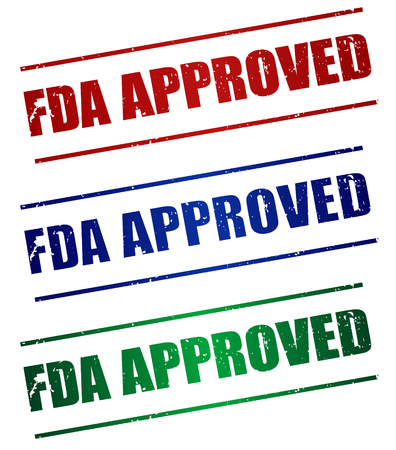 permitted: FDA Approved red , blue and green stamp text on white
