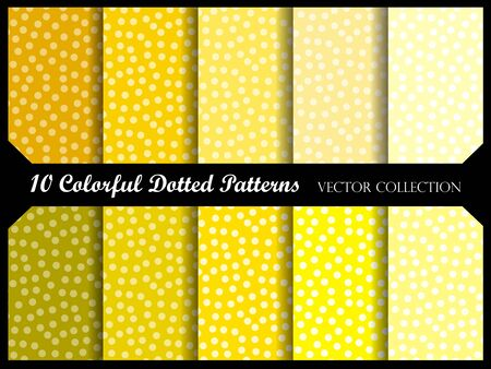 Seamless polka dot pattern collection with circles. Vector swatch