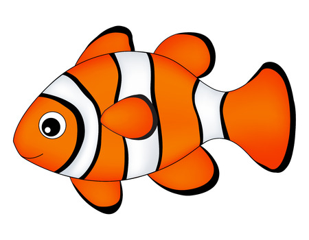 Reef fish / clown fish fish isolated on white background Illustration