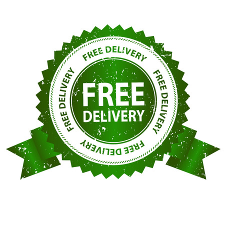 Free delivery grunge green rubber seal  stamp on white background