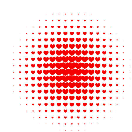 screen print: Heart halftone in red