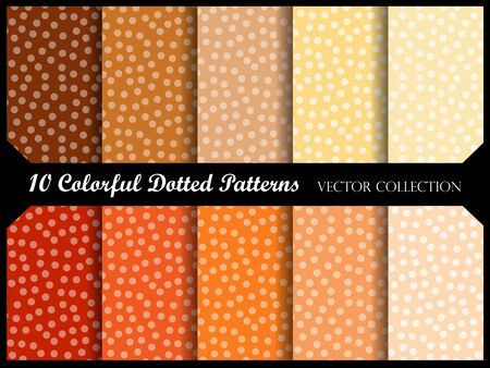 swatch: Seamless polka dot pattern collection with circles. Vector swatch