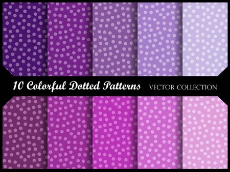 dot pattern: Seamless polka dot pattern collection with circles. Vector swatch