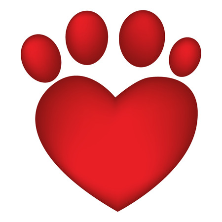 red heart shaped paw print
