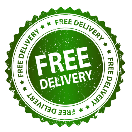 warranty: Free delivery grunge green rubber seal  stamp on white background