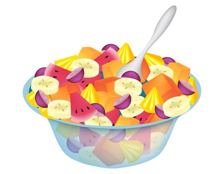 ensalada de frutas: tazón de ensalada de frutas aislados en blanco Vectores