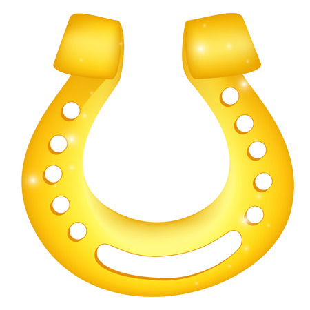 Golden horseshoe with cloverleaf icon. Isolated vector illustration over white background
