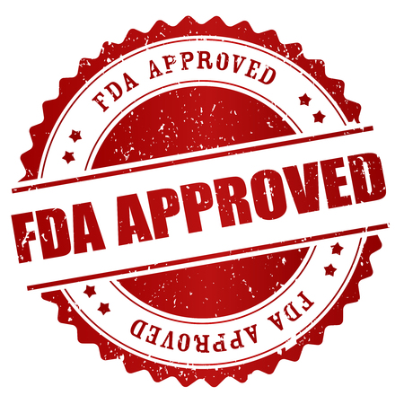 fda: Grunge red rubber stamp or badge with text FDA Approved. Illustration