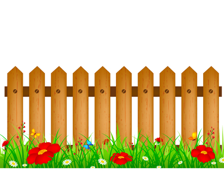 floral objects: Wooden fence with flower bed background isolated over white background