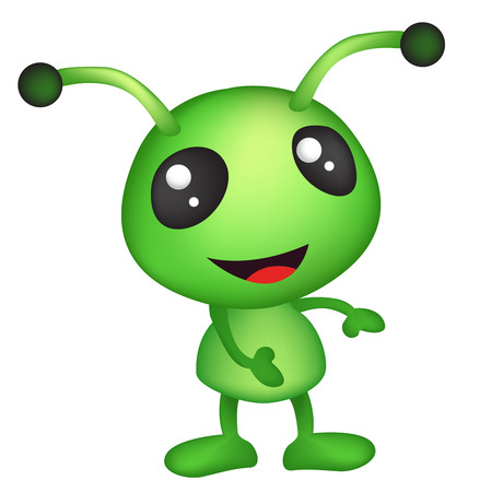 invade: Cute alien isolated on white