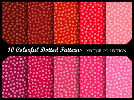 polka dot pattern: Seamless polka dot pattern collection with circles. Vector swatch