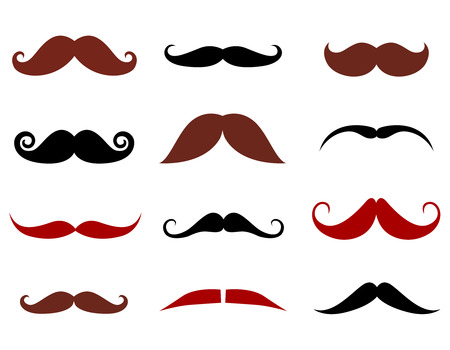 chaplin: Mustache collection isolated on white Illustration