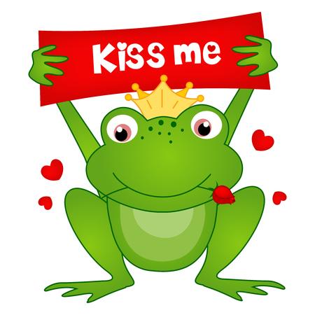 かわいい小さなカエル王子キス私を保持している基板とその口の中の図で白で隔離赤いバラをお知らせ  イラスト・ベクター素材