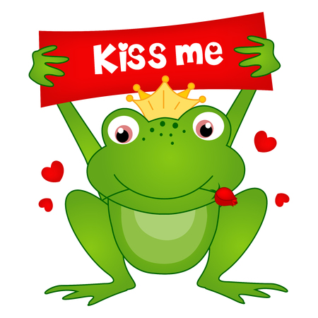 Cute little frog prince holding a kiss me notice board and red rose in its mouth illustration isolated on white Ilustração