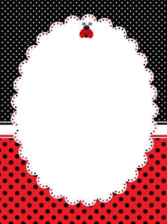Red and black polka dots frame  lady bug theme polka background Illustration