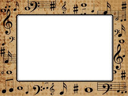 grunge frame: Music notes grunge frame  border with empty white space Illustration