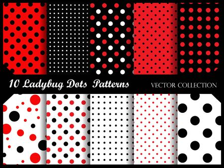 lady bug: Red and black polka dots pattern collection  lady bug theme polka patterns