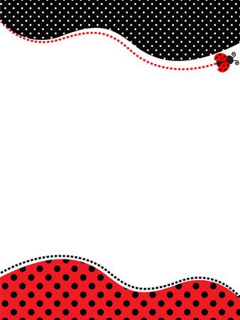 빨간색과 검은 색 폴카 도트 프레임  레이디 버그 테마 폴카 배경