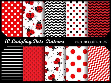 Cute colorful ladybugs clip art with patterns