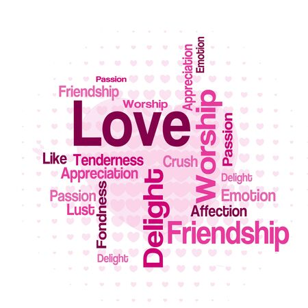 wordcloud: Love wordcloud  tag cloud with different love related words Illustration