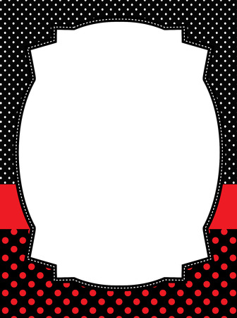 lady in red: Red and black polka dots frame  lady bug theme polka background Illustration