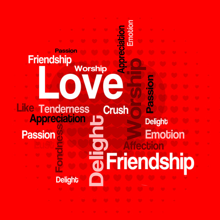 tag cloud: Love wordcloud  tag cloud with different love related words in red