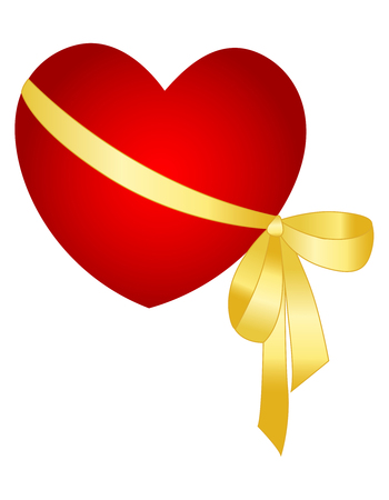 wrapped: Red heart wrapped with a golden ribbon