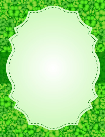 St Patrick's Day background. Vector illustration for lucky spring design with shamrock. Green clover wave border isolated on white background. Ireland symbol pattern.