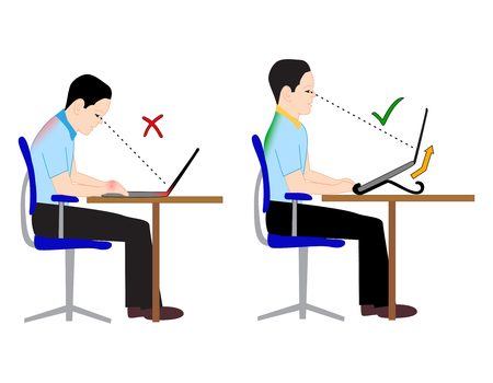 neck injury: Correct and Incorrect back sitting position in flat style. Illustration