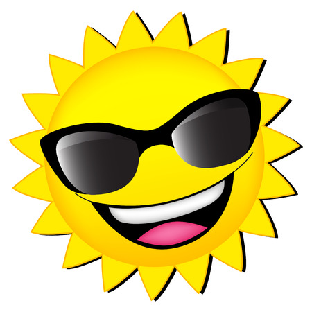 happy sun wearing sunglasses clipart isolated on white