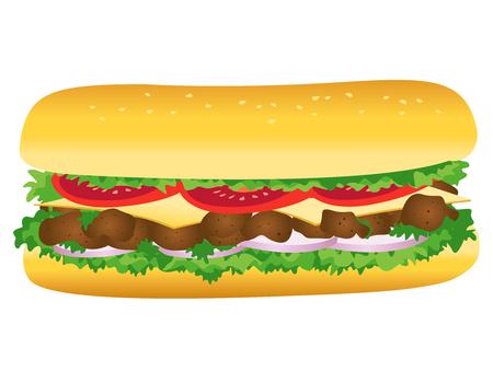 sándwich submarino, ilustración del vector de comida rápida