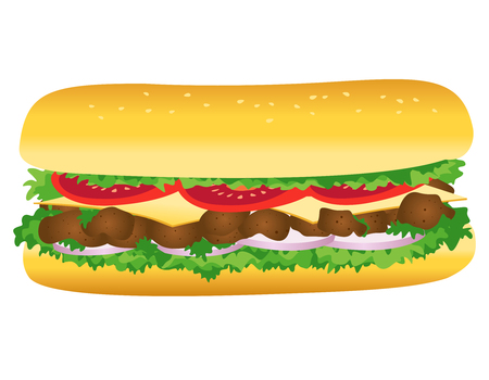 Submarine sandwich, Vector illustratie van fastfood