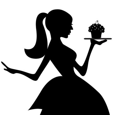 Serveerster met cupcake tray silhouet Stock Illustratie