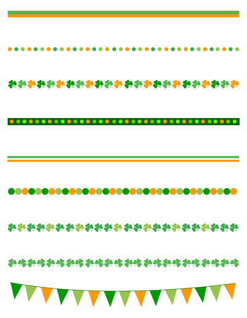 17th of march: St Patricks day page divider collection with green clovers