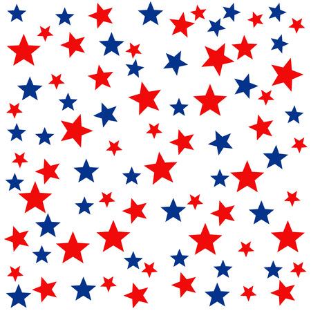 Patriotic naadloze patroon met rood, wit, blauwe sterren. . 4 juli. Inpakpapier. Stock Illustratie
